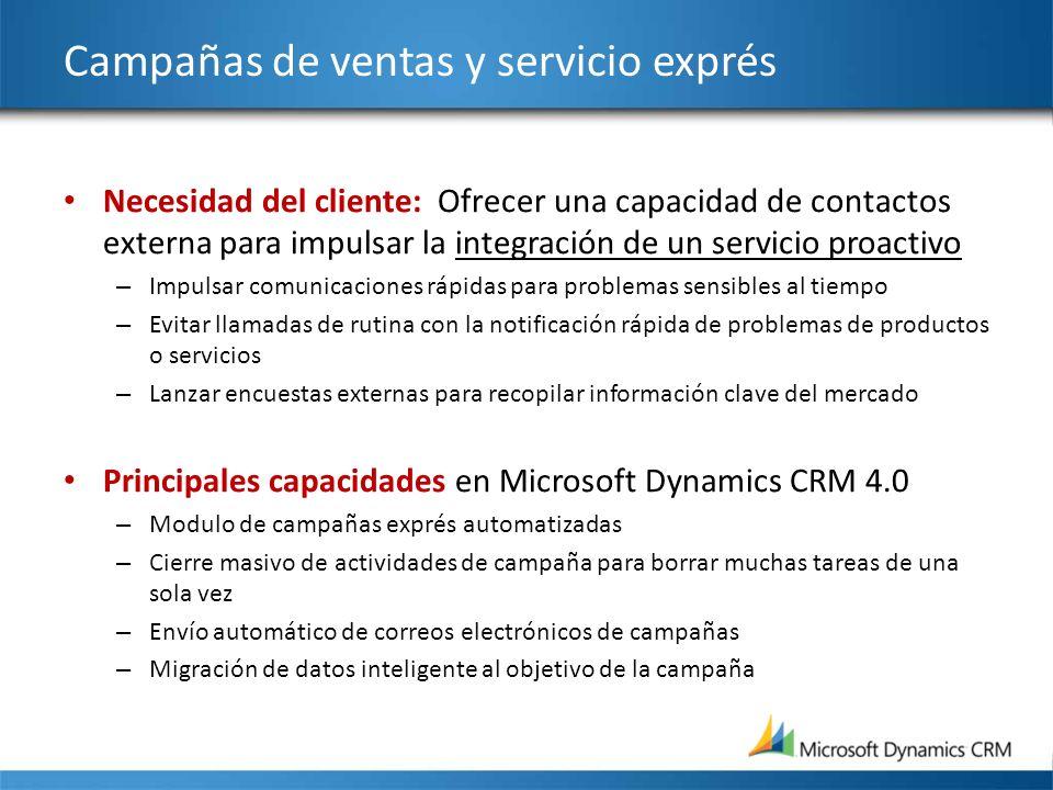 Campañas de ventas y servicio exprés Necesidad del cliente: Ofrecer una capacidad de contactos externa para impulsar la integración de un servicio pro