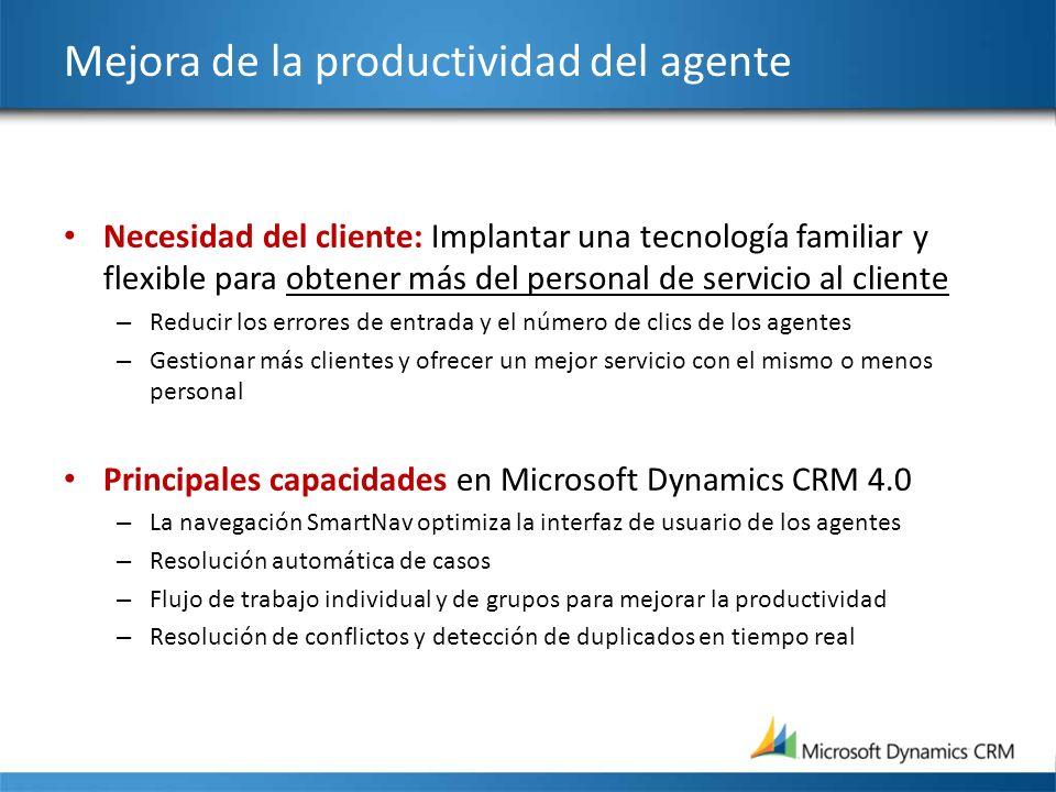 Mejora de la productividad del agente Necesidad del cliente: Implantar una tecnología familiar y flexible para obtener más del personal de servicio al