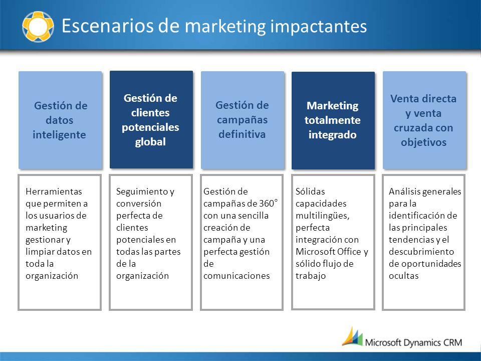Escenarios de m arketing impactantes Gestión de datos inteligente Gestión de clientes potenciales global Gestión de campañas definitiva Marketing tota