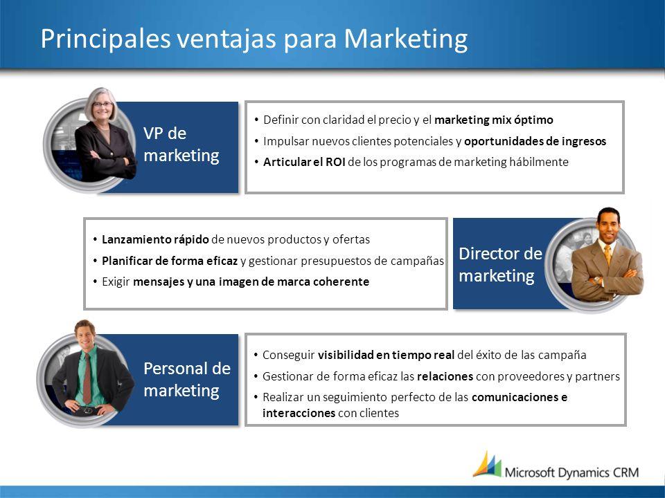 Principales ventajas para Marketing Definir con claridad el precio y el marketing mix óptimo Impulsar nuevos clientes potenciales y oportunidades de i