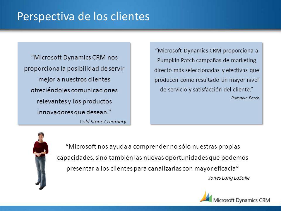 Perspectiva de los clientes Microsoft Dynamics CRM nos proporciona la posibilidad de servir mejor a nuestros clientes ofreciéndoles comunicaciones rel