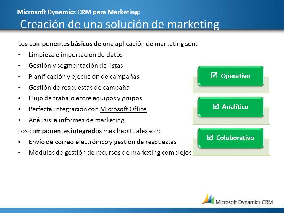 Microsoft Dynamics CRM para Marketing: Creación de una solución de marketing 26 Los componentes básicos de una aplicación de marketing son: Limpieza e