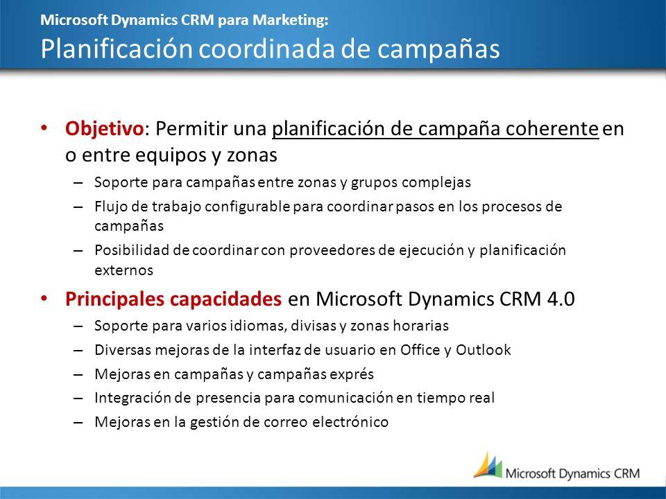 Microsoft Dynamics CRM para Marketing: Planificación coordinada de campañas Objetivo: Permitir una planificación de campaña coherente en o entre equip