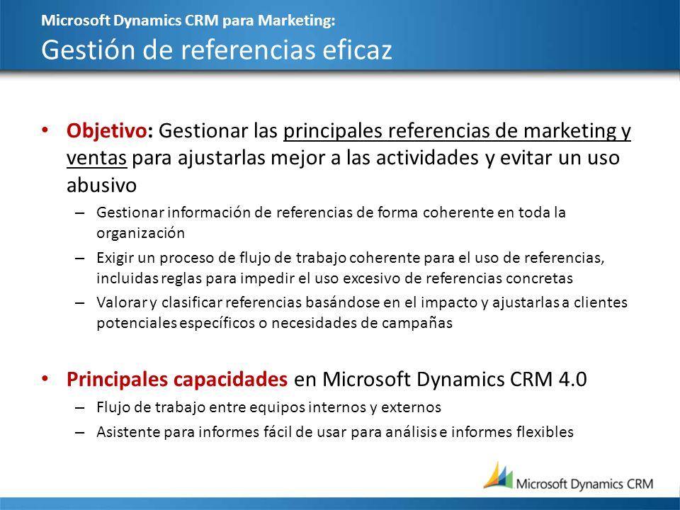 Microsoft Dynamics CRM para Marketing: Gestión de referencias eficaz Objetivo: Gestionar las principales referencias de marketing y ventas para ajusta