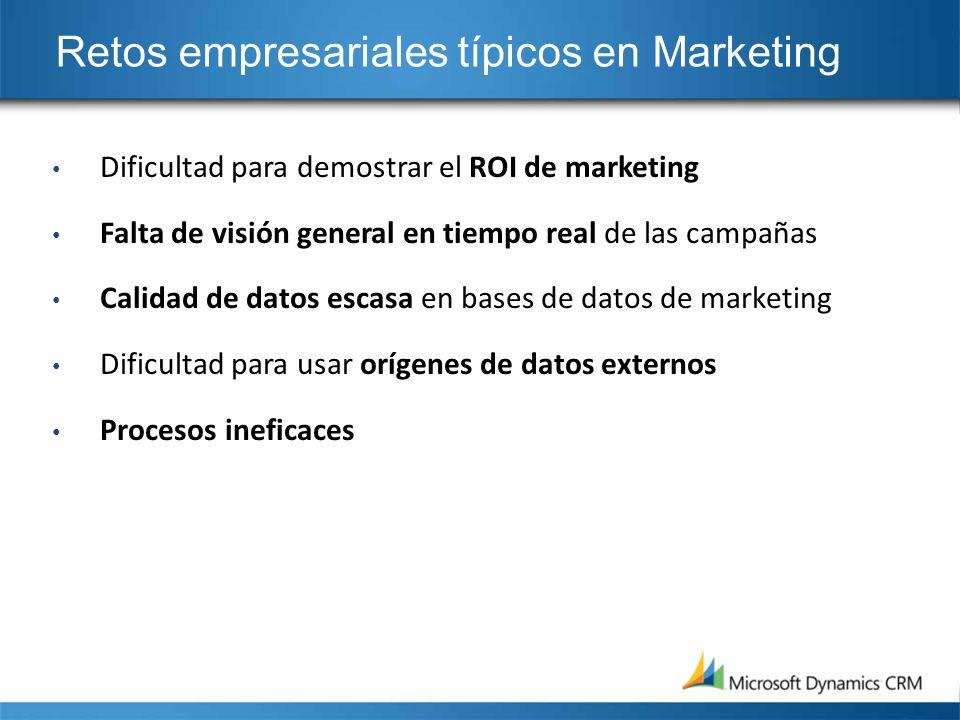 Retos empresariales típicos en Marketing Dificultad para demostrar el ROI de marketing Falta de visión general en tiempo real de las campañas Calidad
