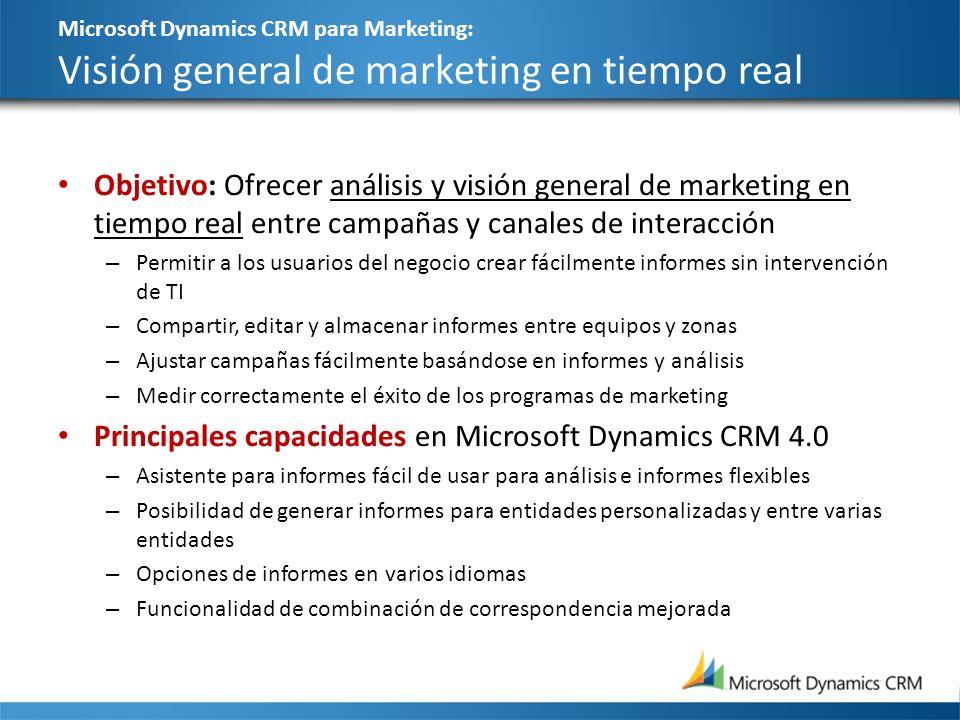 Microsoft Dynamics CRM para Marketing: Visión general de marketing en tiempo real Objetivo: Ofrecer análisis y visión general de marketing en tiempo r