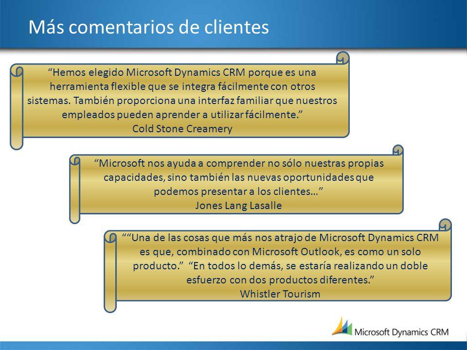 Más comentarios de clientes Microsoft nos ayuda a comprender no sólo nuestras propias capacidades, sino también las nuevas oportunidades que podemos p