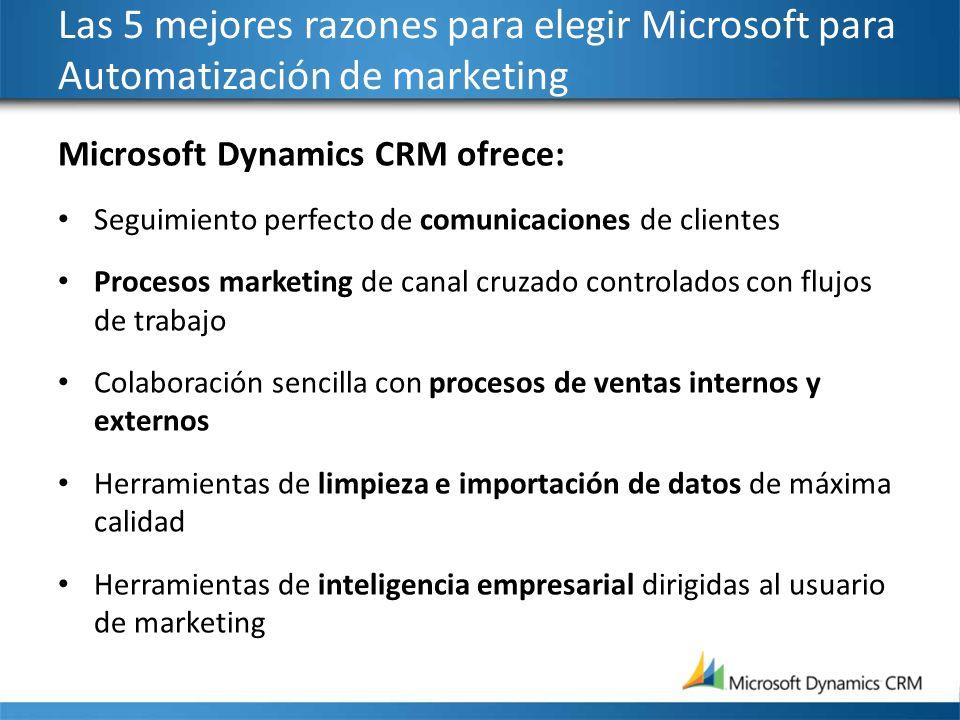 Las 5 mejores razones para elegir Microsoft para Automatización de marketing Microsoft Dynamics CRM ofrece: Seguimiento perfecto de comunicaciones de