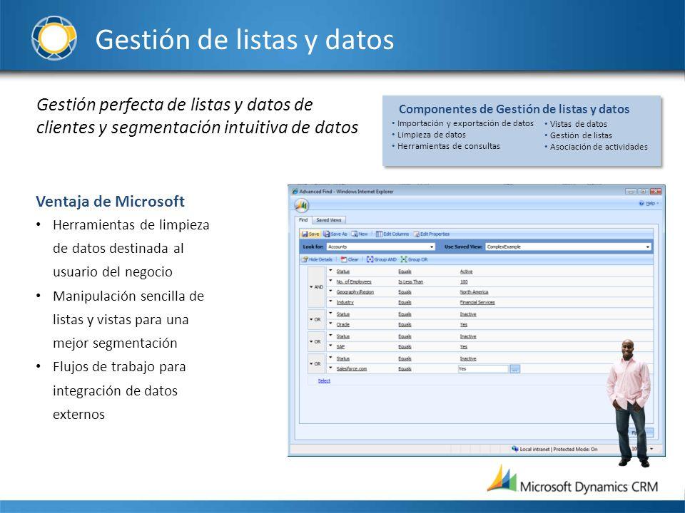 Gestión de listas y datos Gestión perfecta de listas y datos de clientes y segmentación intuitiva de datos Ventaja de Microsoft Herramientas de limpie