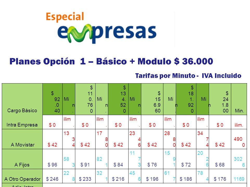 Tarifas por Minuto - IVA Incluido Cargo Básico $ 92.0 40 Mi n. $ 11 0. 76 0 Mi n. $ 13 4. 52 0 Mi n. $ 15 6.9 60 Mi n. $ 18 1. 92 0 Mi n. $ 24 1.8 00M