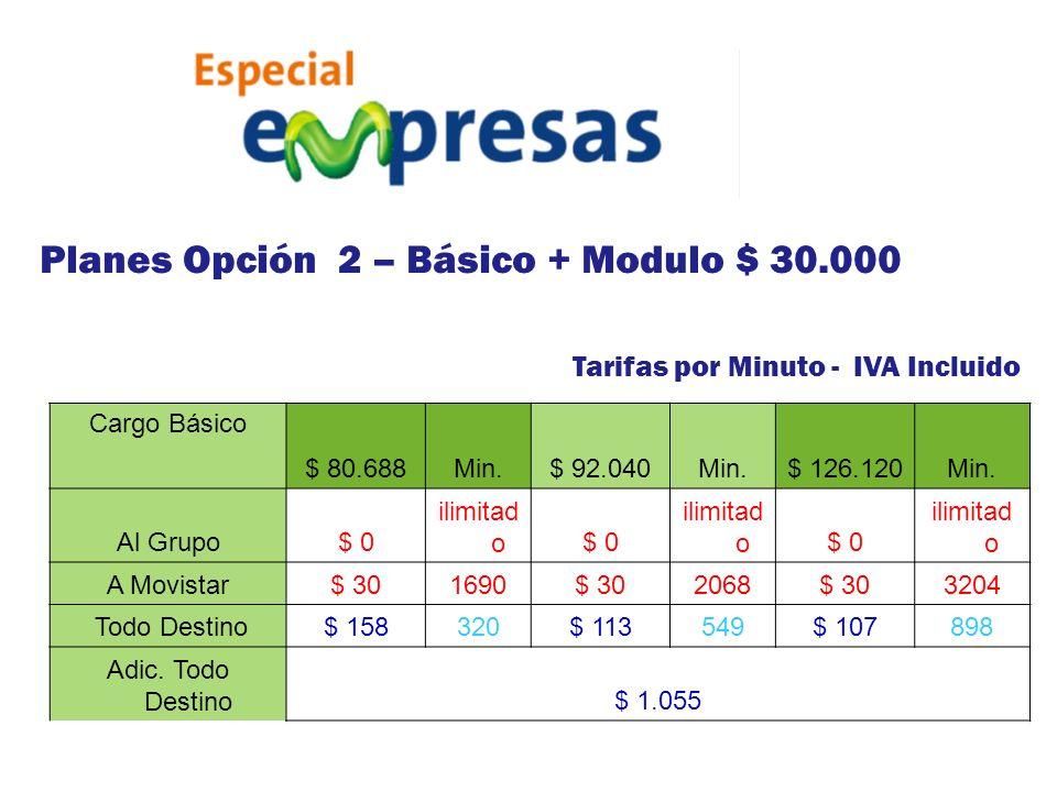 Tarifas por Minuto - IVA Incluido Cargo Básico $ 80.688Min.$ 92.040Min.$ 126.120Min. Al Grupo$ 0 ilimitad o$ 0 ilimitad o$ 0 ilimitad o A Movistar$ 30