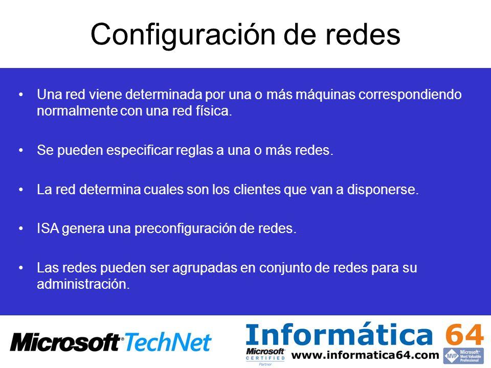 Configuración de redes Una red viene determinada por una o más máquinas correspondiendo normalmente con una red física. Se pueden especificar reglas a