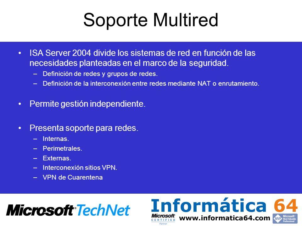 Soporte Multired ISA Server 2004 divide los sistemas de red en función de las necesidades planteadas en el marco de la seguridad. –Definición de redes