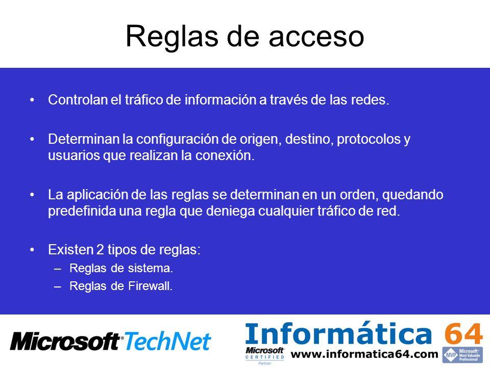 Reglas de acceso Controlan el tráfico de información a través de las redes. Determinan la configuración de origen, destino, protocolos y usuarios que