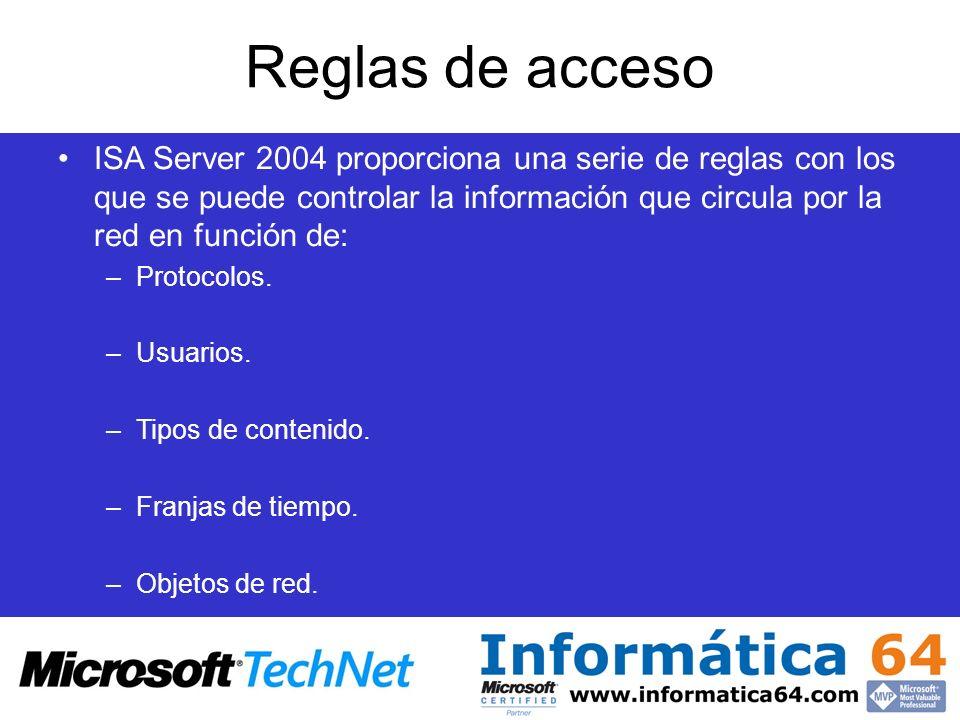Reglas de acceso ISA Server 2004 proporciona una serie de reglas con los que se puede controlar la información que circula por la red en función de: –