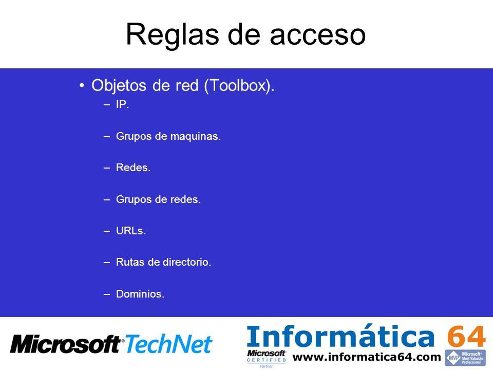 Reglas de acceso Objetos de red (Toolbox). –IP. –Grupos de maquinas. –Redes. –Grupos de redes. –URLs. –Rutas de directorio. –Dominios.