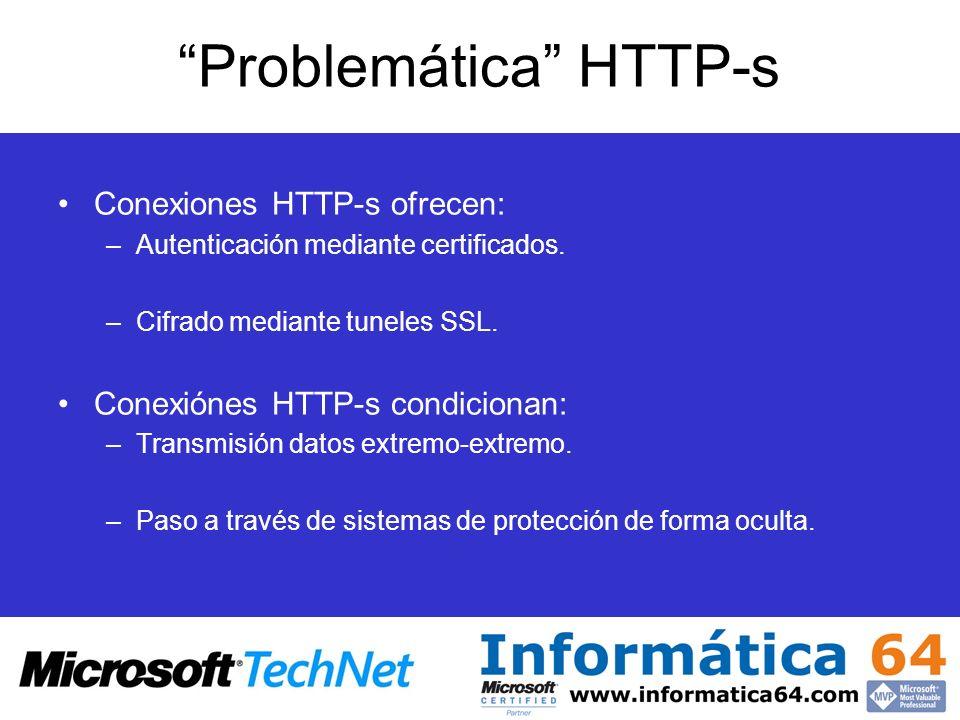 Problemática HTTP-s Conexiones HTTP-s ofrecen: –Autenticación mediante certificados. –Cifrado mediante tuneles SSL. Conexiónes HTTP-s condicionan: –Tr