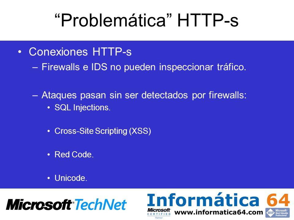 Problemática HTTP-s Conexiones HTTP-s –Firewalls e IDS no pueden inspeccionar tráfico. –Ataques pasan sin ser detectados por firewalls: SQL Injections