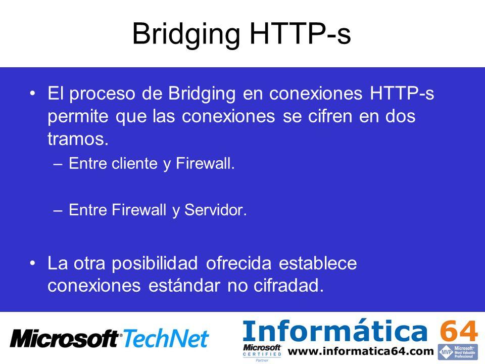 Bridging HTTP-s El proceso de Bridging en conexiones HTTP-s permite que las conexiones se cifren en dos tramos. –Entre cliente y Firewall. –Entre Fire