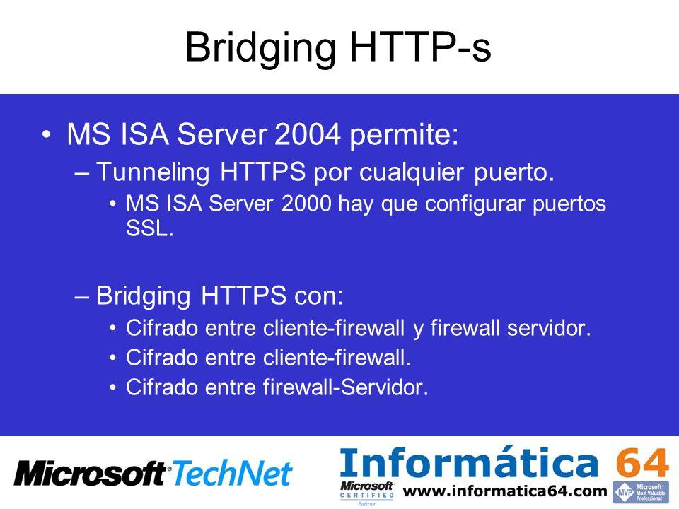 Bridging HTTP-s MS ISA Server 2004 permite: –Tunneling HTTPS por cualquier puerto. MS ISA Server 2000 hay que configurar puertos SSL. –Bridging HTTPS