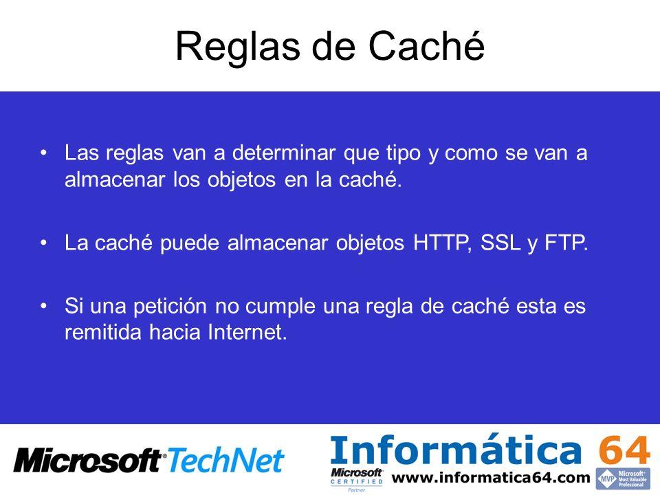 Reglas de Caché Las reglas van a determinar que tipo y como se van a almacenar los objetos en la caché. La caché puede almacenar objetos HTTP, SSL y F