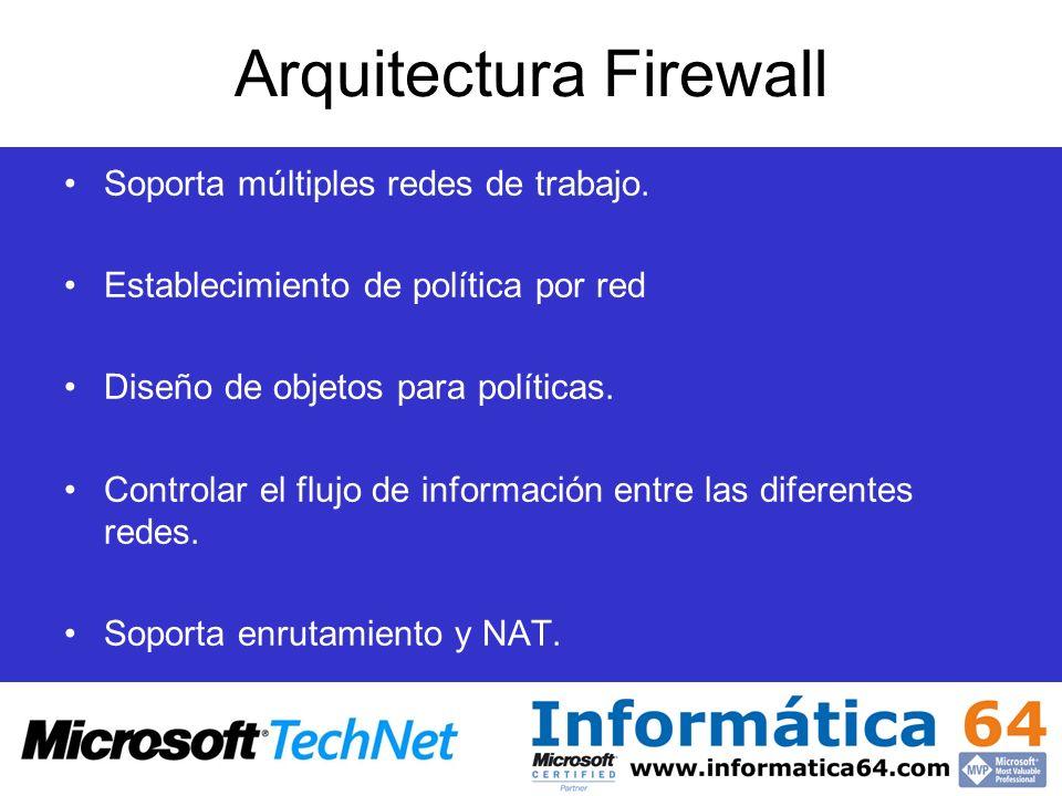 Arquitectura Firewall Soporta múltiples redes de trabajo. Establecimiento de política por red Diseño de objetos para políticas. Controlar el flujo de