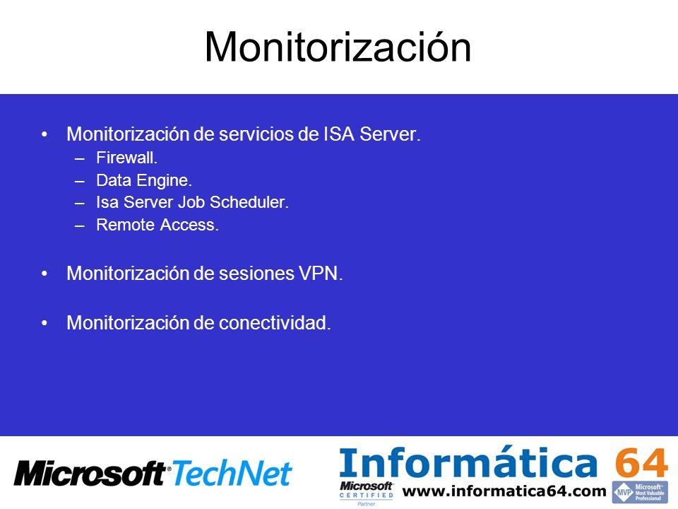 Monitorización Monitorización de servicios de ISA Server. –Firewall. –Data Engine. –Isa Server Job Scheduler. –Remote Access. Monitorización de sesion