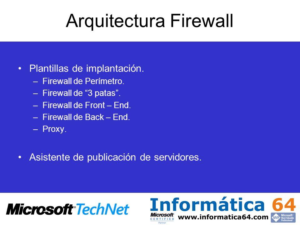 Arquitectura Firewall Plantillas de implantación. –Firewall de Perímetro. –Firewall de 3 patas. –Firewall de Front – End. –Firewall de Back – End. –Pr