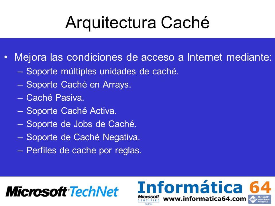 Arquitectura Caché Mejora las condiciones de acceso a Internet mediante: –Soporte múltiples unidades de caché. –Soporte Caché en Arrays. –Caché Pasiva