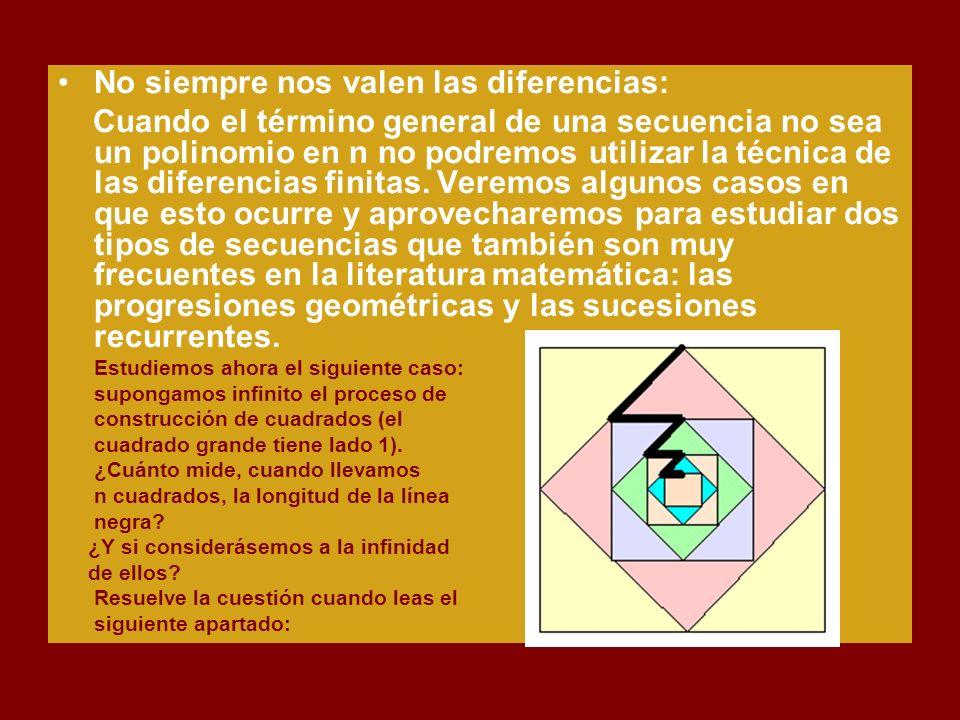 No siempre nos valen las diferencias: Cuando el término general de una secuencia no sea un polinomio en n no podremos utilizar la técnica de las diferencias finitas.