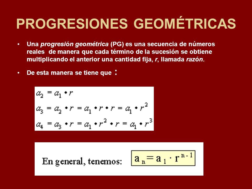 PROGRESIONES GEOMÉTRICAS Una progresión geométrica (PG) es una secuencia de números reales de manera que cada término de la sucesión se obtiene multiplicando el anterior una cantidad fija, r, llamada razón.
