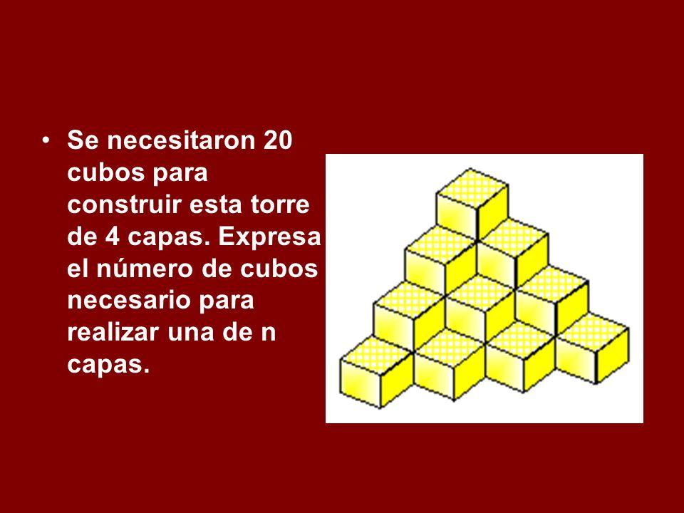 Se necesitaron 20 cubos para construir esta torre de 4 capas. Expresa el número de cubos necesario para realizar una de n capas.