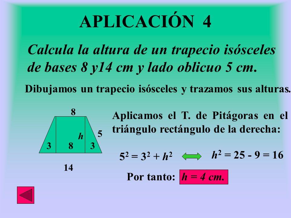 d = 12 cm El lado de un rombo mide 10 cm y su diagonal mayor 16 cm.Halla su diagonal menor. Dibujamos un rombo y trazamos sus diagonales. Queda descom