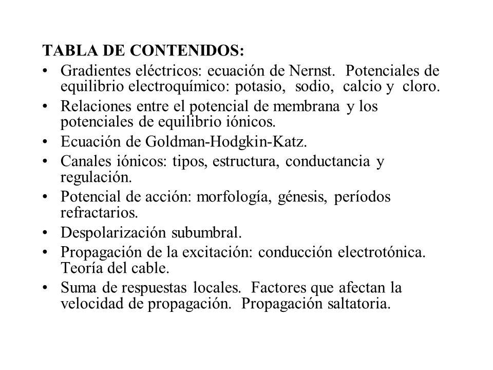 TABLA DE CONTENIDOS: Gradientes eléctricos: ecuación de Nernst. Potenciales de equilibrio electroquímico: potasio, sodio, calcio y cloro. Relaciones e