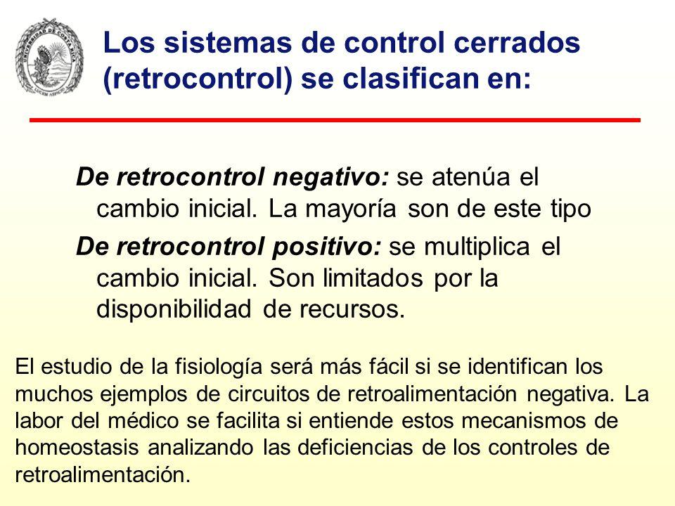 Los sistemas de control cerrados (retrocontrol) se clasifican en: De retrocontrol negativo: se atenúa el cambio inicial. La mayoría son de este tipo D
