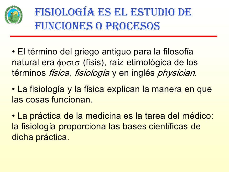 Fisiología es el estudio de funciones o procesos El término del griego antiguo para la filosofía natural era (fisis), raíz etimológica de los términos