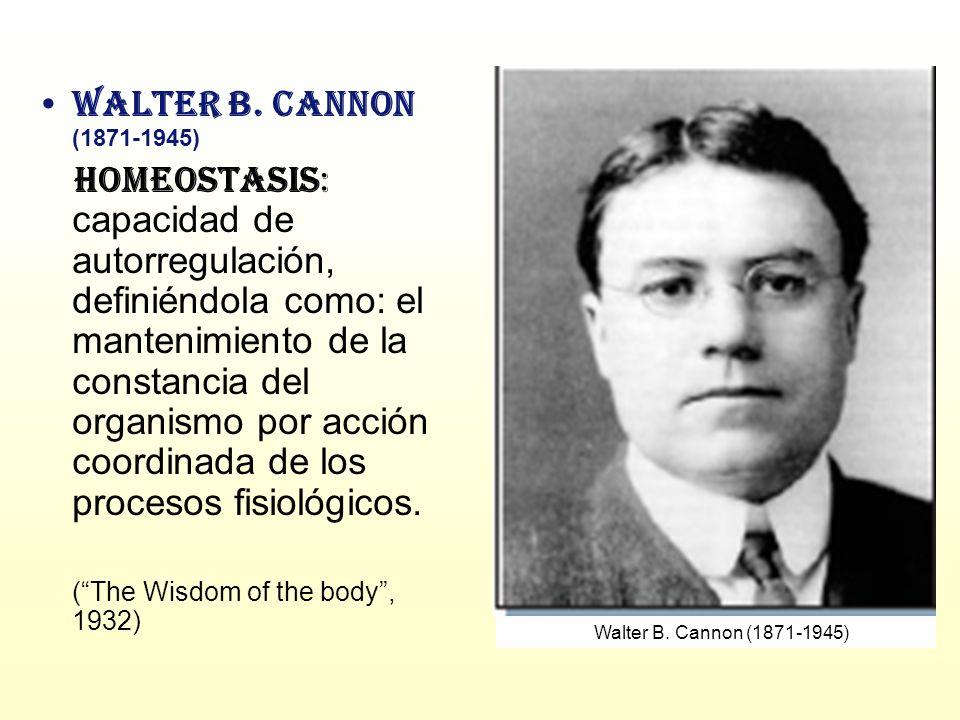 Walter B. Cannon (1871-1945) Homeostasis: capacidad de autorregulación, definiéndola como: el mantenimiento de la constancia del organismo por acción
