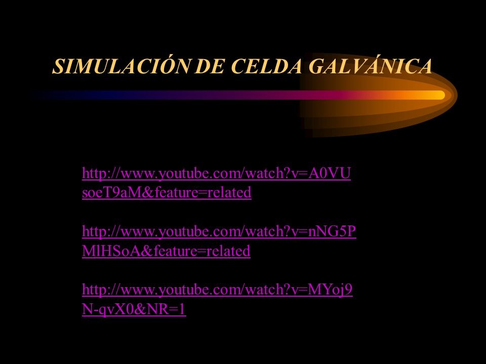 SIMULACIÓN DE CELDA GALVÁNICA http://www.youtube.com/watch?v=A0VU soeT9aM&feature=related http://www.youtube.com/watch?v=nNG5P MlHSoA&feature=related