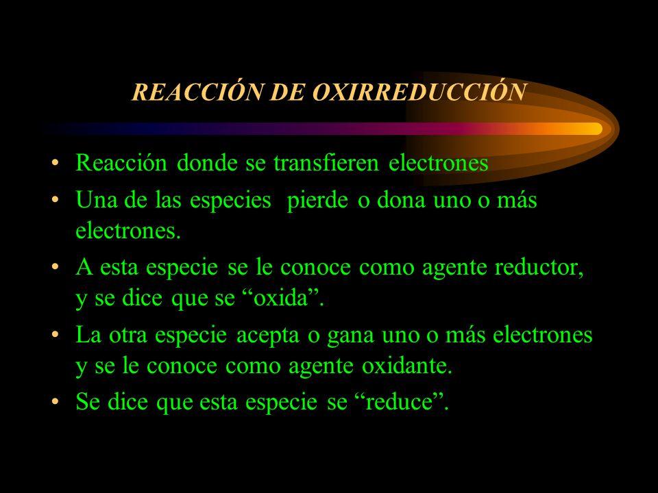 Números de oxidación Reglas: –Todo elemento en su estado elemental se le asigna un número de oxidación de 0 Ej: Na (S) –Todo ion monoatómico se la asignará número de oxidación igual a su carga Ej.