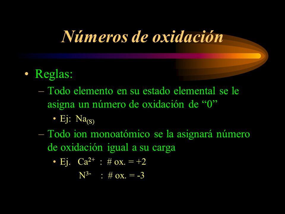 Números de oxidación Reglas (cont.) –En compuestos binarios (formados por elementos distintos) se le asigna # de ox.