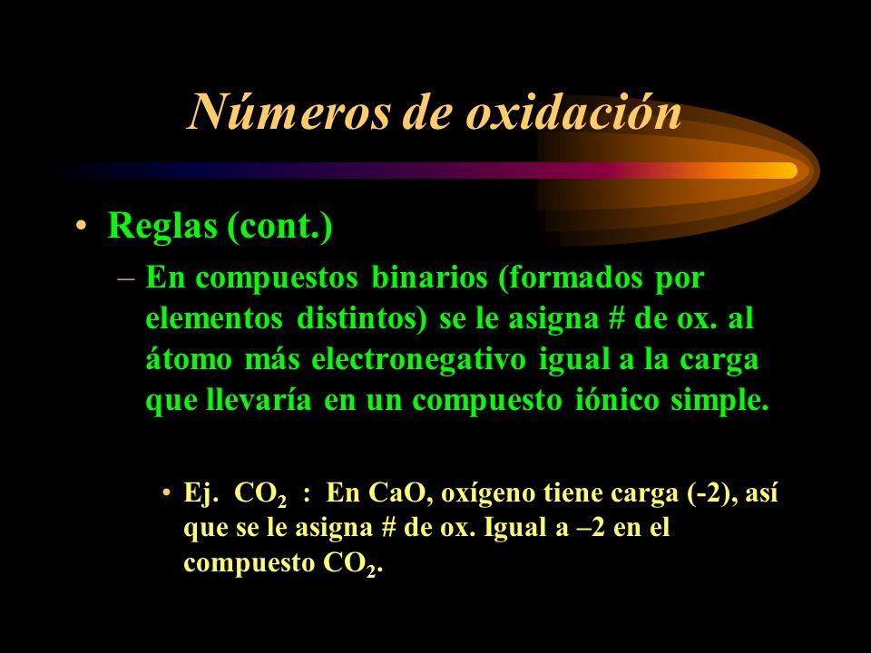 Números de oxidación Reglas (cont.) –La suma de los números de oxidación de los elementos que forman un compuesto neutral suman a cero, y en un ion poliatómico suman a la carga del ion.