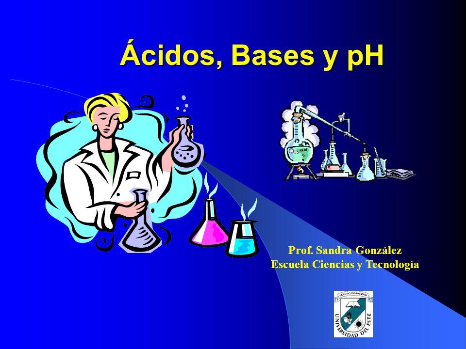 Ácidos, Bases y pH Prof. Sandra González Escuela Ciencias y Tecnología
