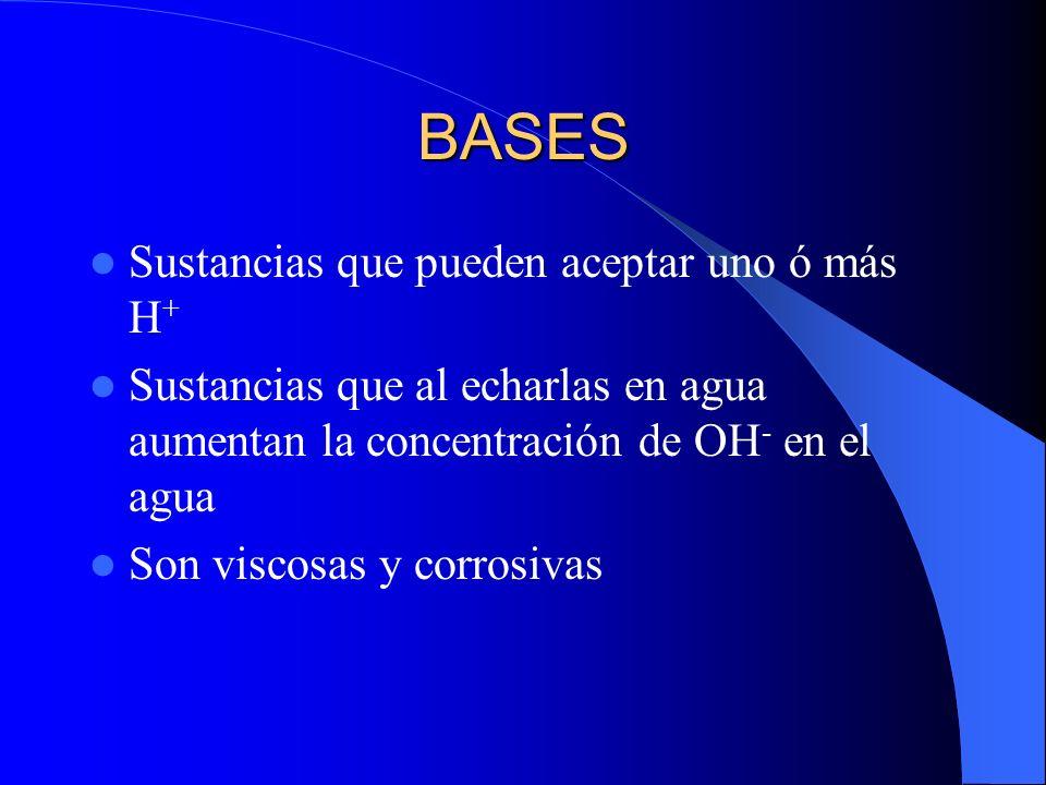 BASES Sustancias que pueden aceptar uno ó más H + Sustancias que al echarlas en agua aumentan la concentración de OH - en el agua Son viscosas y corro