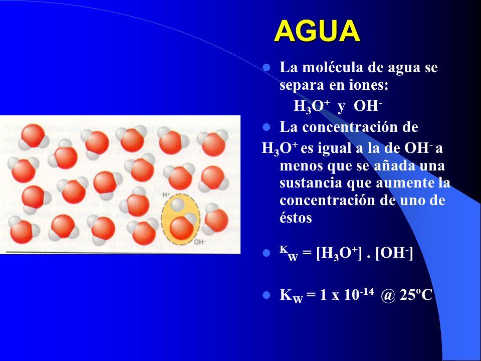 AGUA La molécula de agua se separa en iones: H 3 O + y OH - La concentración de H 3 O + es igual a la de OH - a menos que se añada una sustancia que a