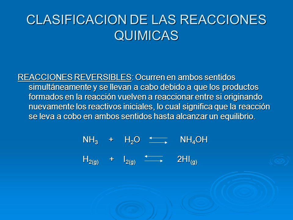 CLASIFICACION DE LAS REACCIONES QUIMICAS REACCIONES REVERSIBLES: Ocurren en ambos sentidos simultáneamente y se llevan a cabo debido a que los product