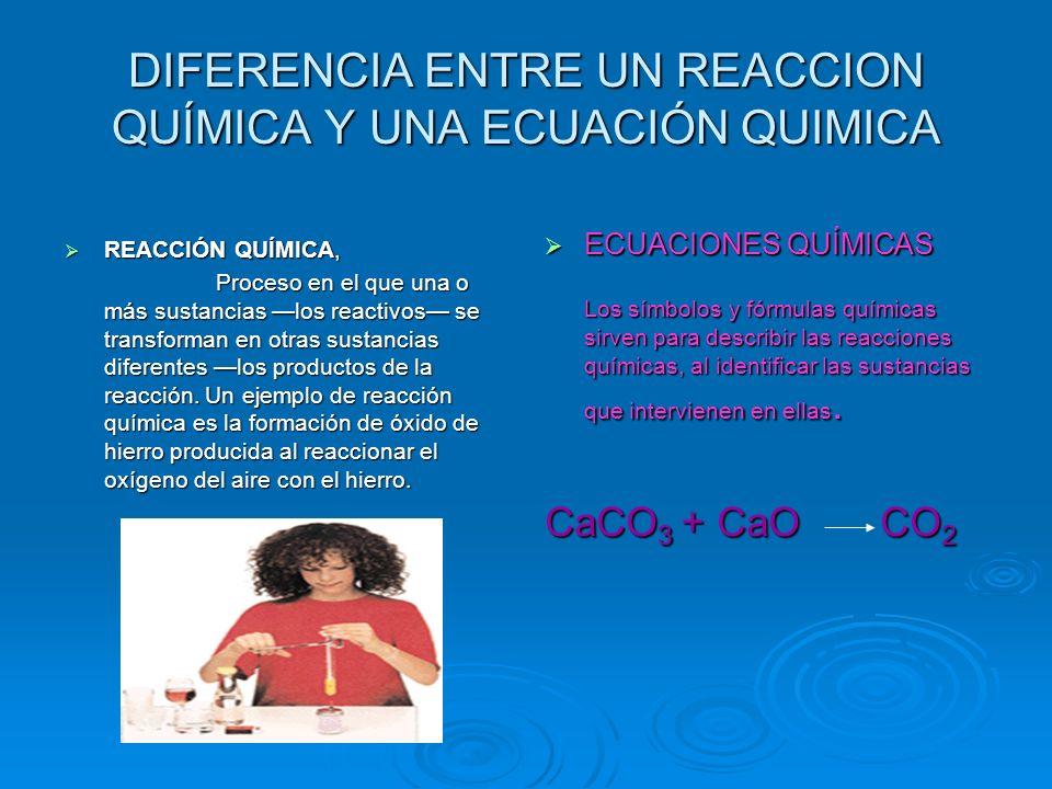 DIFERENCIA ENTRE UN REACCION QUÍMICA Y UNA ECUACIÓN QUIMICA REACCIÓN QUÍMICA, REACCIÓN QUÍMICA, Proceso en el que una o más sustancias los reactivos s