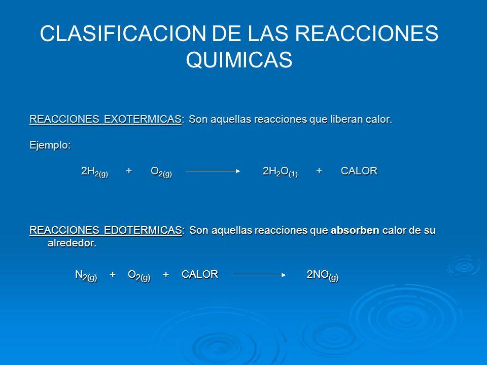 REACCIONES EXOTERMICAS: Son aquellas reacciones que liberan calor. Ejemplo: 2H 2(g) + O 2(g) 2H 2 O (1) + CALOR REACCIONES EDOTERMICAS: Son aquellas r