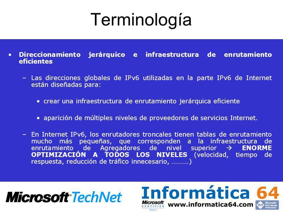 Terminología Direccionamiento jerárquico e infraestructura de enrutamiento eficientes –Las direcciones globales de IPv6 utilizadas en la parte IPv6 de