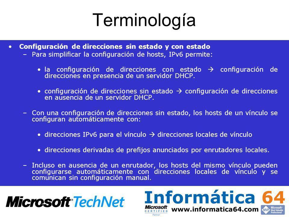Terminología Configuración de direcciones sin estado y con estado –Para simplificar la configuración de hosts, IPv6 permite: la configuración de direc