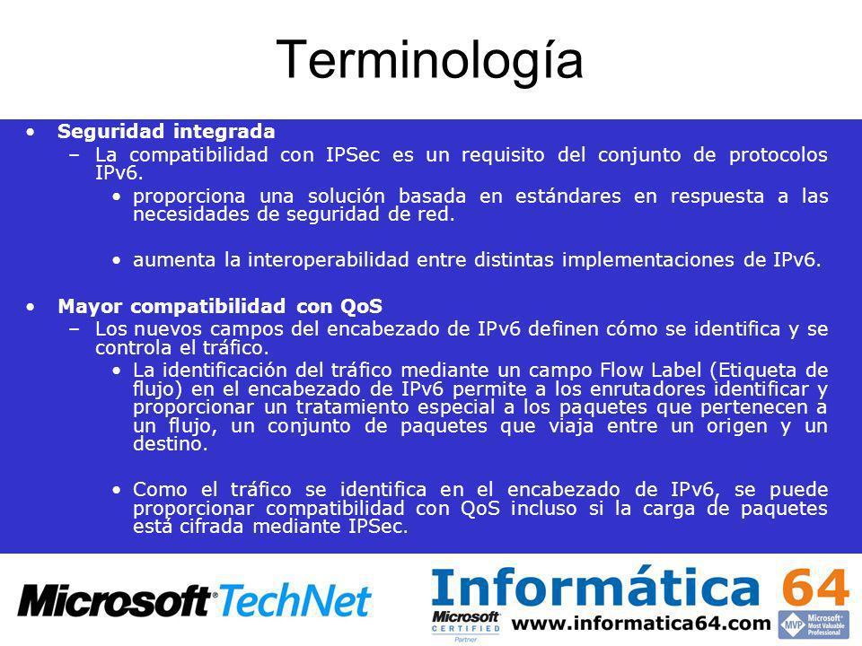 Terminología Seguridad integrada –La compatibilidad con IPSec es un requisito del conjunto de protocolos IPv6. proporciona una solución basada en está